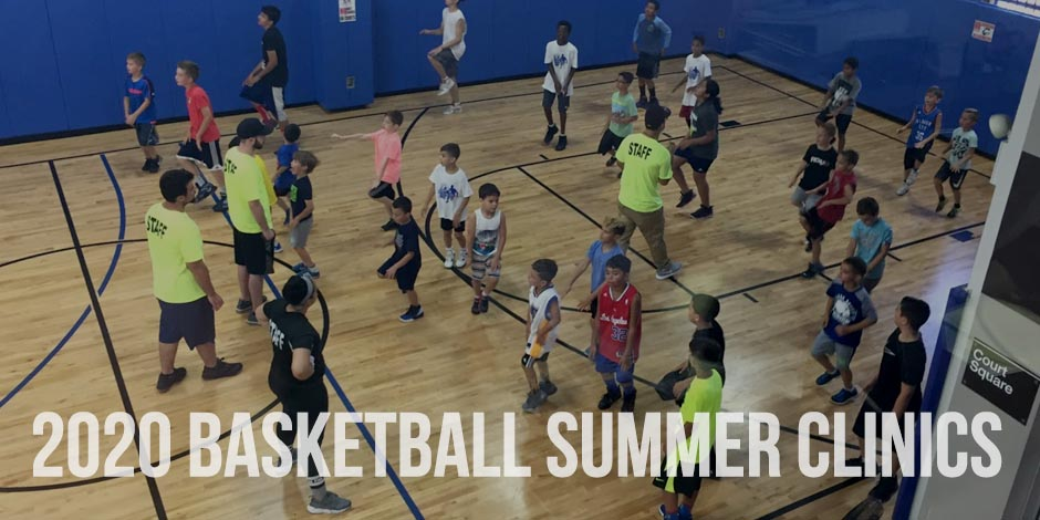 A Banner showing kids playing basketball on a Summer Camp at Artistic Sports Complex in Queens, NY. With words - '2020 Basketball Summer Clinics.'