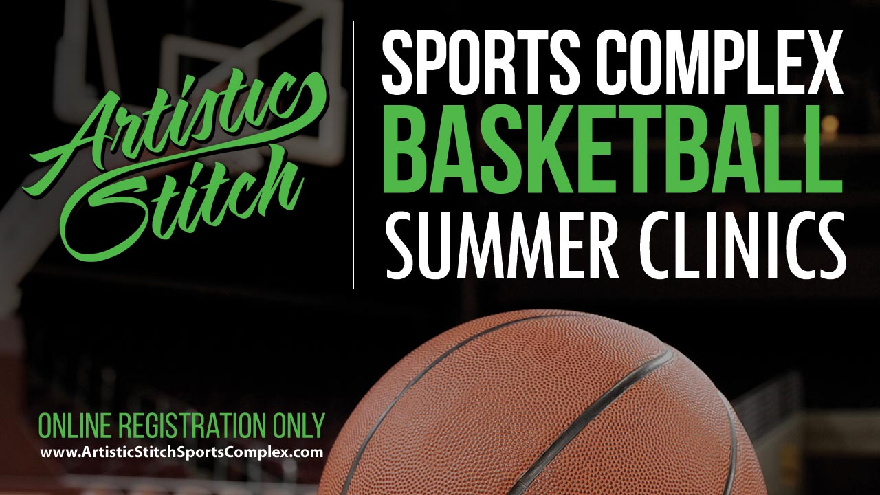 A banner showing kids playing basketball at the Summer Camp at Artistic Sports Complex in Queens, NY. With words on it saying - '2022 Basketball Summer Clinics.'